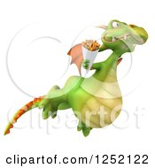 Clipart Of A 3d Green Dragon Flying With French Fries 2 Royalty Free Illustration