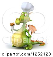 Clipart Of A 3d Green Chef Dragon Holding French Fries Royalty Free Illustration