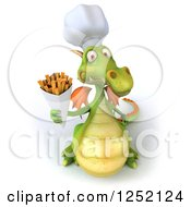 Clipart Of A 3d Green Chef Dragon Holding Up French Fries Royalty Free Illustration