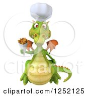 Clipart Of A 3d Green Chef Dragon Holding French Fries 2 Royalty Free Illustration