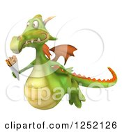 Clipart Of A 3d Green Dragon Flying With French Fries Royalty Free Illustration