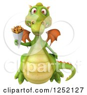 Clipart Of A 3d Green Dragon Holding French Fries 2 Royalty Free Illustration