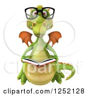 Clipart Of A 3d Bespectacled Green Dragon Reading A Book Royalty Free Illustration