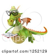 Clipart Of A 3d Bespectacled Green Dragon Flying And Reading A Book Royalty Free Illustration by Julos