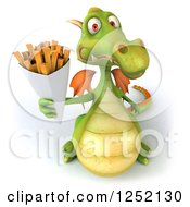 Clipart Of A 3d Green Dragon Holding Up French Fries Royalty Free Illustration
