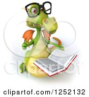 Clipart Of A 3d Bespectacled Green Dragon Holding A Thumb Up And A Book Royalty Free Illustration by Julos