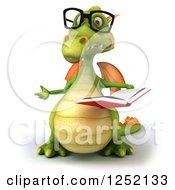 Clipart Of A 3d Bespectacled Green Dragon Presenting And Reading A Book Royalty Free Illustration by Julos