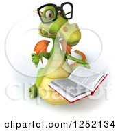 Clipart Of A 3d Bespectacled Green Dragon Holding A Thumb Down And A Book Royalty Free Illustration by Julos