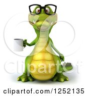 Clipart Of A 3d Bespectacled Crocodile Boss With A Coffee Mug Royalty Free Illustration
