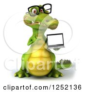 Clipart Of A 3d Bespectacled Crocodile Presenting A Website On A Laptop Royalty Free Illustration