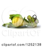 Clipart Of A 3d Bespectacled Crocodile Resting And Holding A Thumb Up Royalty Free Illustration