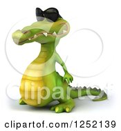 Clipart Of A 3d Crocodile Wearing Sunglasses And Facing Left Royalty Free Illustration