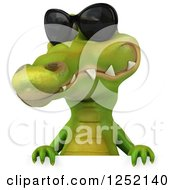 Clipart Of A 3d Crocodile Wearing Sunglasses Over A Sign Royalty Free Illustration