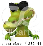 Clipart Of A 3d Crocodile Wearing Sunglasses And Pointing Down Over A Sign Royalty Free Illustration