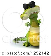 Clipart Of A 3d Crocodile Wearing Sunglasses And Pointing Around A Sign Royalty Free Illustration