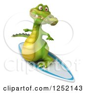 Clipart Of A 3d Crocodile Surfing Royalty Free Illustration