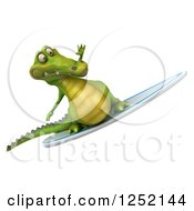 Clipart Of A 3d Crocodile Surfing 2 Royalty Free Illustration