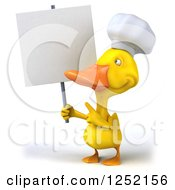 Clipart Of A 3d Chef Duck Holding And Pointing To A Blank Sign Royalty Free Illustration
