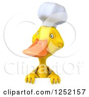 Clipart Of A 3d Chef Duck Over A Sign Royalty Free Illustration