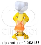 Clipart Of A 3d Chef Duck Pointing Down Over A Sign Royalty Free Illustration