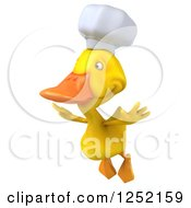 Clipart Of A 3d Chef Duck Flying 2 Royalty Free Illustration