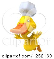 Clipart Of A 3d Chef Duck Flying Royalty Free Illustration