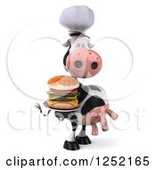 Clipart Of A 3d Chef Cow Holding A Double Cheeseburger On A Plate 2 Royalty Free Illustration