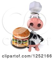 Clipart Of A 3d Chef Cow Holding Up A Double Cheeseburger On A Plate Royalty Free Illustration