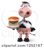 Clipart Of A 3d Chef Cow Holding A Double Cheeseburger On A Plate Royalty Free Illustration
