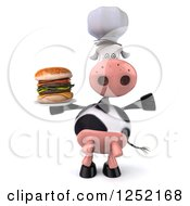 Clipart Of A 3d Chef Cow Cheering And Holding A Double Cheeseburger On A Plate Royalty Free Illustration