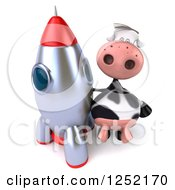 Clipart Of A 3d Cow Standing By A Rocket Royalty Free Illustration