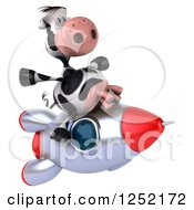 Clipart Of A 3d Cow Flying On A Rocket 2 Royalty Free Illustration