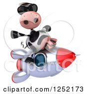 Clipart Of A 3d Cow Flying On A Rocket 3 Royalty Free Illustration