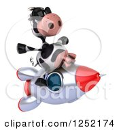 Clipart Of A 3d Cow Flying On A Rocket 4 Royalty Free Illustration