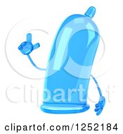Clipart Of A 3d Blue Condom Character With An Idea Royalty Free Illustration by Julos