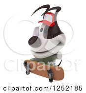 Clipart Of A 3d Jack Russell Terrier Dog Wearing A Baseball Cap And Skateboarding 2 Royalty Free Illustration