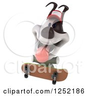 Clipart Of A 3d Jack Russell Terrier Dog Wearing A Baseball Cap And Skateboarding Royalty Free Illustration