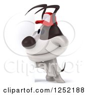 Clipart Of A 3d Jack Russell Terrier Dog Wearing A Baseball Cap By A Sign Royalty Free Illustration