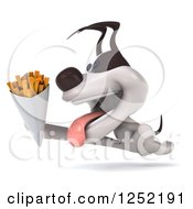 Clipart Of A 3d Jack Russell Terrier Dog Running With French Fries 2 Royalty Free Illustration