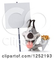 Clipart Of A 3d Jack Russell Terrier Dog Holding French Fries By A Blank Sign Royalty Free Illustration
