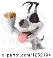 Clipart Of A 3d Jack Russell Terrier Dog Holding Up French Fries Royalty Free Illustration