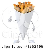 Clipart Of A 3d French Fries Character Holding A Thumb Up 2 Royalty Free Illustration by Julos