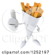 Clipart Of A 3d French Fries Character Holding A Thumb Up Royalty Free Illustration by Julos