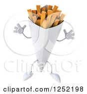 Clipart Of A 3d French Fries Character Jumping Royalty Free Illustration by Julos