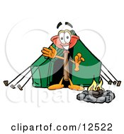 Sink Plunger Mascot Cartoon Character Camping With A Tent And Fire