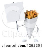 Clipart Of A 3d French Fries Character Holding A Blank Sign Royalty Free Illustration by Julos