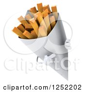 Clipart Of A 3d French Fries Character Pointing Around A Sign Royalty Free Illustration by Julos