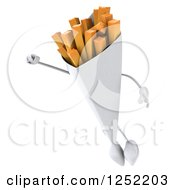 Clipart Of A 3d French Fries Character Flying Royalty Free Illustration by Julos
