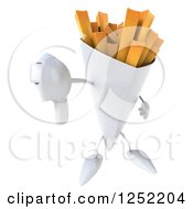 Clipart Of A 3d French Fries Character Holding A Thumb Down Royalty Free Illustration by Julos