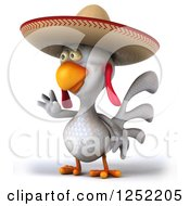 Clipart Of A 3d White Mexican Chicken Waving Royalty Free Illustration